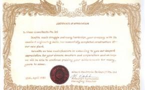 Hitachi Certificate Of Appreciation