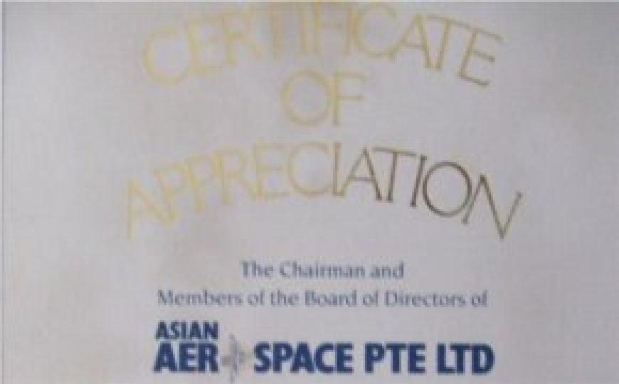 Appreciation of Asian Aerospace Pte Ltd for Changi International Exhibition & Convent