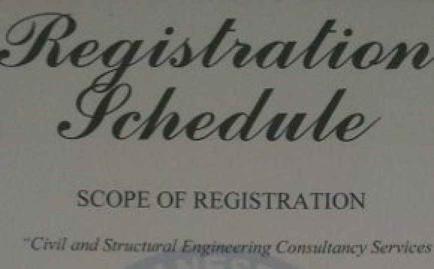 Registration Schedule - Civil and Structural Engeineering Consultatncy Services