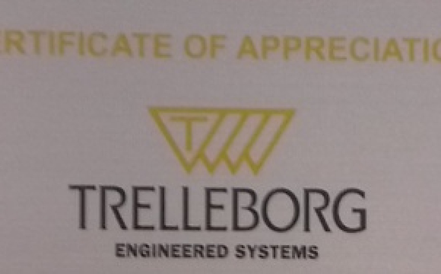 Certificate of Appreciation from Trelleborg Engineered Systems