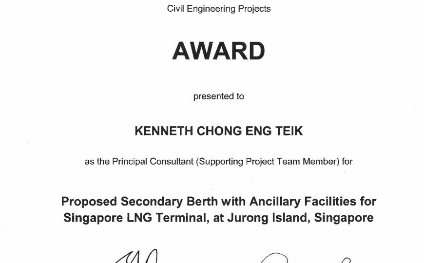 BCA Construction Excellence Award 2015 - Proposed Secondary Berth with Ancillary Facilities for Singapore LNG Terminal
